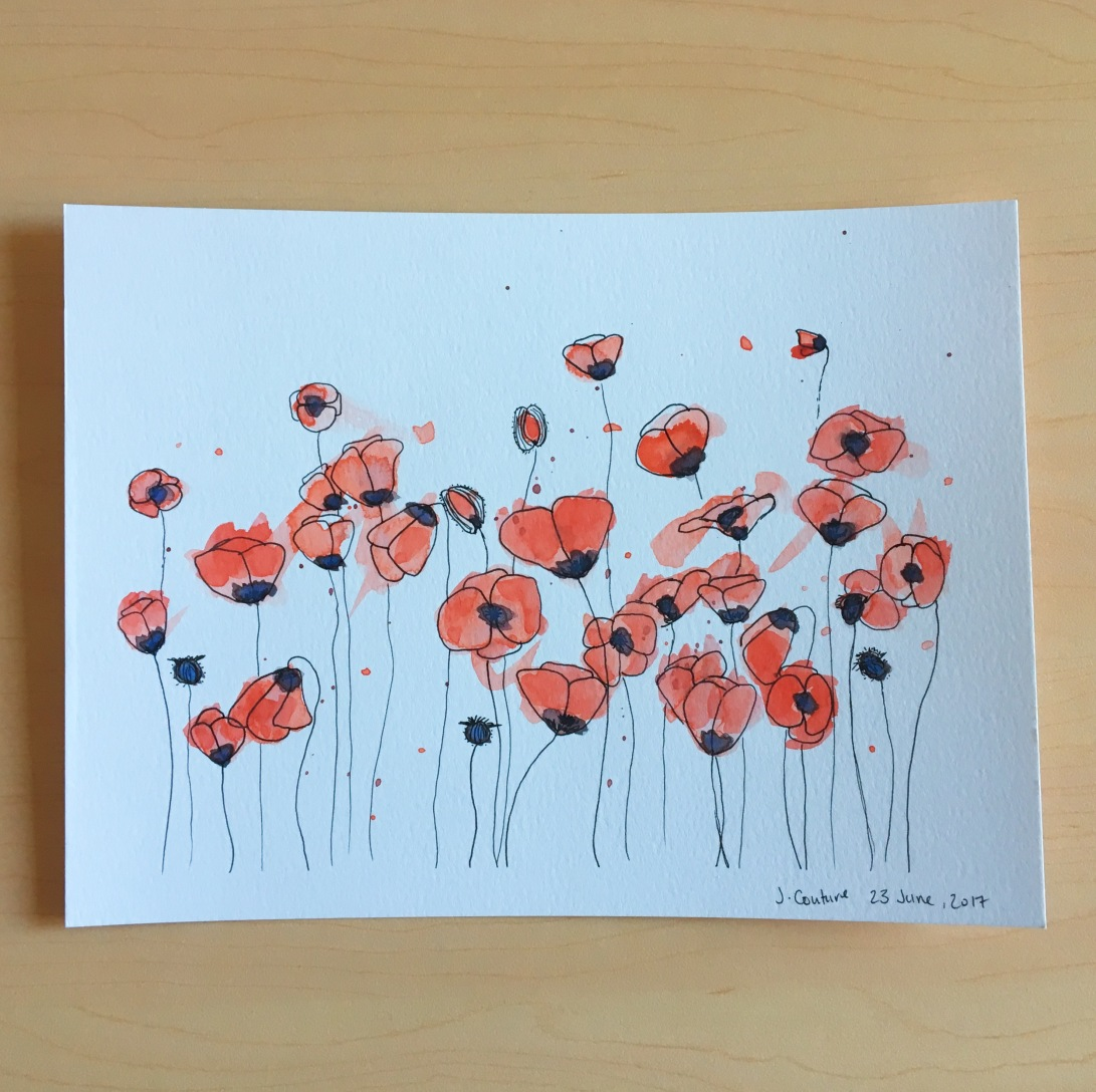 Abstract watercolour poppies
