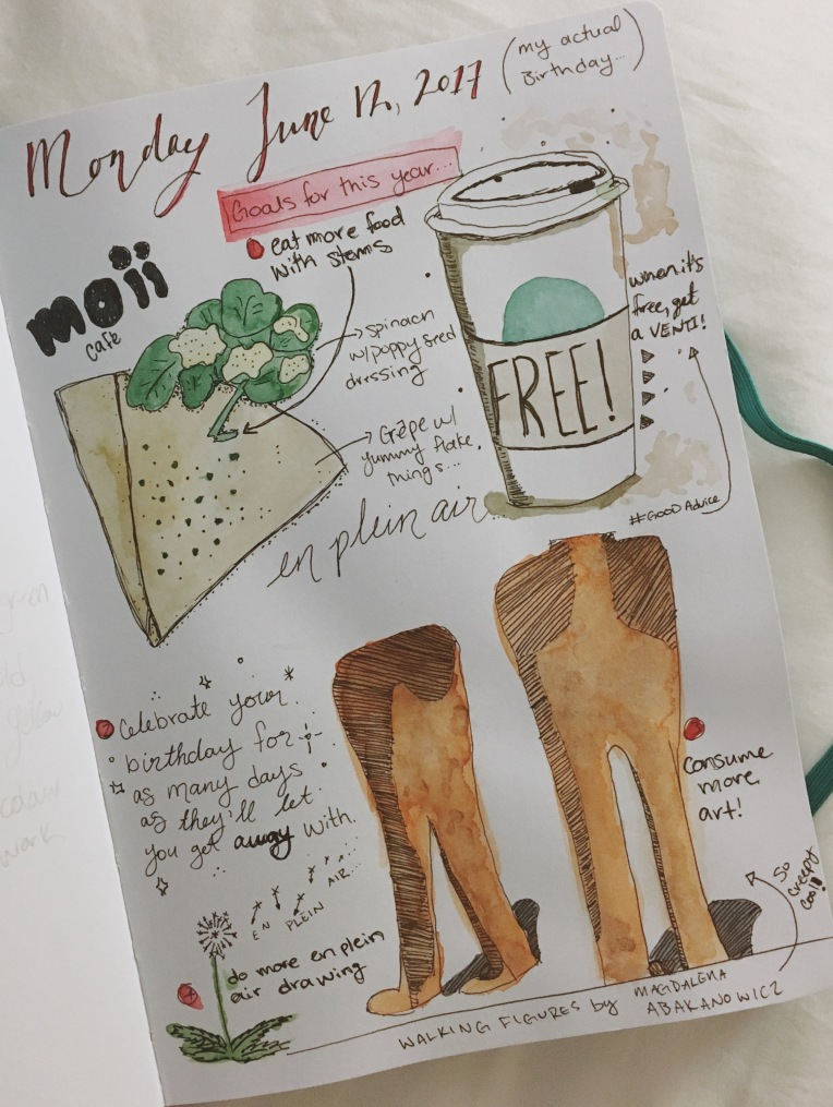 Illustrated art journal pages in watercolour