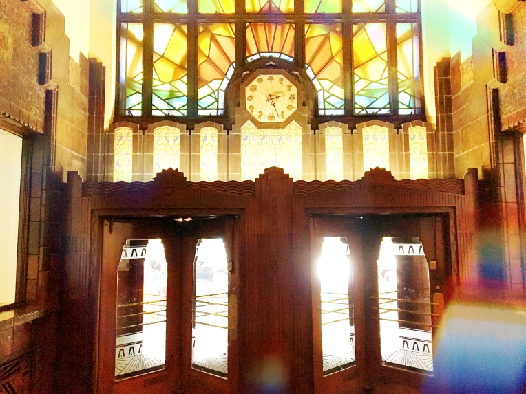 Stained glass sunset window at the Marine Building in Vancouver