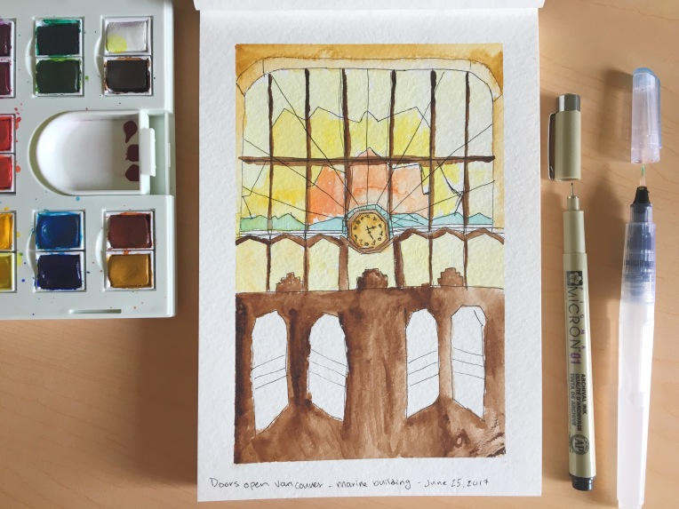Watercolour painting of stained glass sunset window in Marine Building