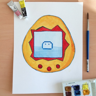 A watercolor illustration of a yellow and red Tamagotchi by Jessica Couture