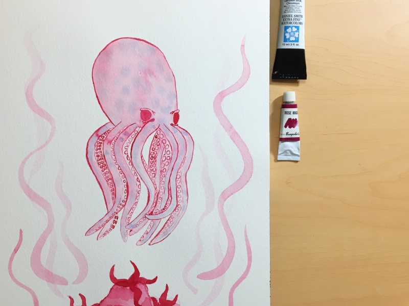 Pink watercolor octopus painted by Jessica Couture