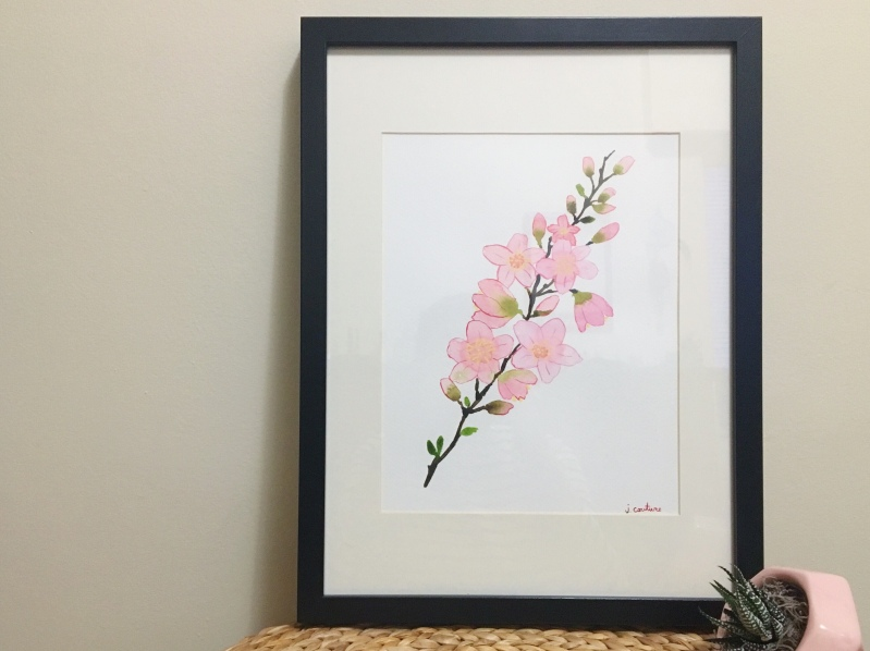 A watercolor painting of a blooming cherry blossom sprig