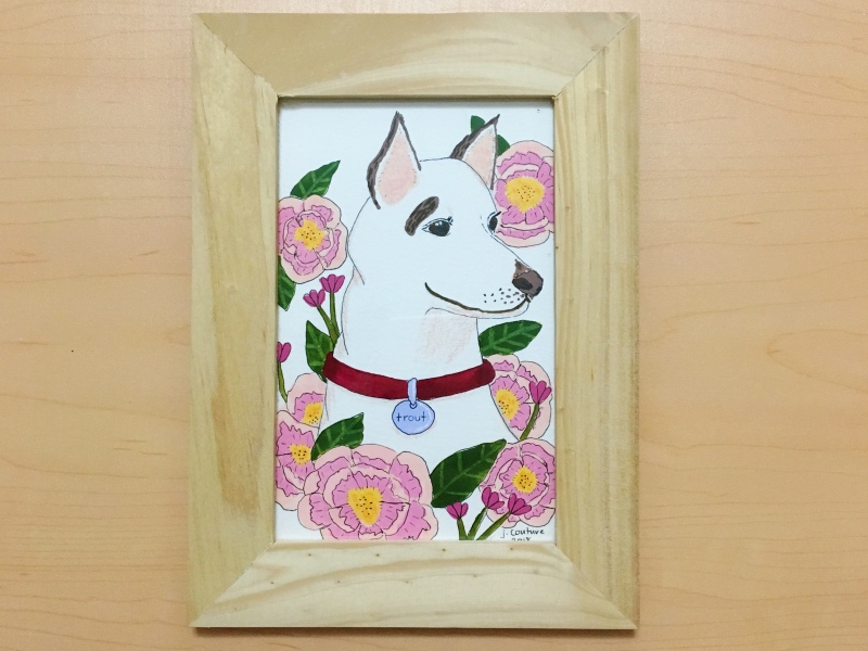 A painting of a white German shepherd
