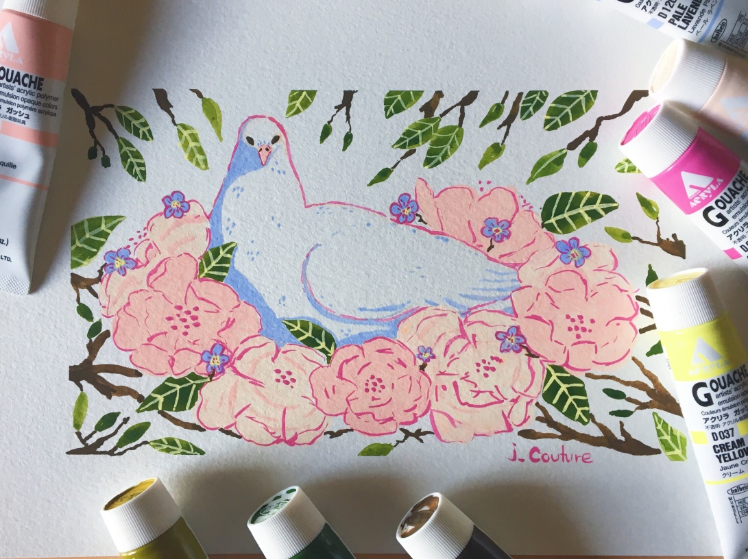A gouache painting of a white dove in a nest of pink flowers
